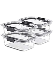 Rubbermaid Brilliance Glass, 3.2-Cup Lids, 2-Pack (4 Pieces Total) Food Storage Container, BPA Free and Leak Proof, Medium, 4-Pack