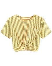 MAKEMECHIC Women's Short Sleeve Cute Print Crop Top Summer Tee Shirt