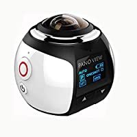 Homestec 360 degree Action Camera- Panoramic 2448 2448 30fps Ultra HD Video waterproof Action Cameras Deportiva Wifi Sport Cam Driving VR Camera (White)