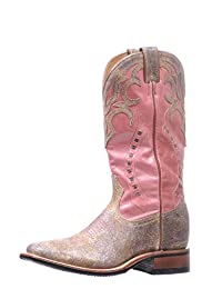 Boulet Western Boots Womens Stockman Square Overlay Chocolate 5178