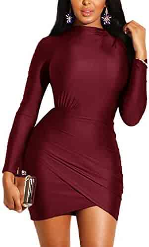 f2a793369ac HOOYON Women s Cocktail Party Sexy Bodycon Ruched Vintage Long Sleeve Mini  Dress