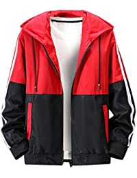 Men's Thin Hooded Jacket Fashion Colorblock Long Sleeve Sport Coat Hoodies Sweatshirt