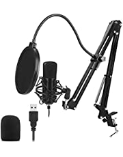 Mainstayae USB Microphone Kit 192KHZ/24BIT Professional Podcast Condenser Mic for PC Karaoke Studio Recording Mic Kit with Sound Card