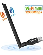 ROTEK USB Wifi Adapter 1200Mbps, USB 3.0 Wifi Dongle with 5dBi Antenna for PC/Desktop/Laptop, Wireless Network Adapter Dual Band 5G/867Mbps + 2.4G/300Mbps, Support Windows XP/Vista/7/8/10, Mac OS