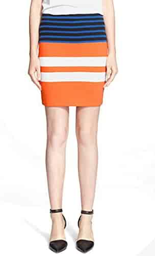 930a6d3d2a T by Alexander Wang Engineered Stripe Pencil Skirt for Women in Tang  Orange, Large