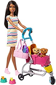 Barbie Stroll 'n Play Pups Playset with Brunette Doll (11.5-inch), 2 Puppies, Pet Stroller and Accessories, Gi