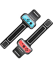 MoKo Wrist Bands Straps for Switch/Switch OLED Model (2021) for Just Dance 2021 2020 2019, Zumba Burn It Up, Cardio Boxing Series, 2 Pack Adjustable Elastic Strap Armband for Joystick Controller,Black