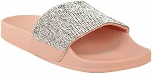 0b8d1c55b2ab Fashion Thirsty Womens Flat Platform Slip On Sliders Diamante Sandals Shoes  Size