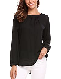 Women's Long Sleeve Solid Crew Neck Pleated Chiffon...