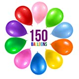Prextex 150 Party Balloons 12 Inch 10 Assorted Rainbow Colors - Bulk Pack of Strong Latex Balloons for Party Decorations, Birthday Parties Supplies or Arch Decor - Helium Quality