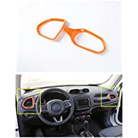 FMtoppeak Orange 2 PCS ABS Interior Kits Dashboard Air Condition Vent Trim Ring Outlet Cover For 2014 UP Jeep Renegade