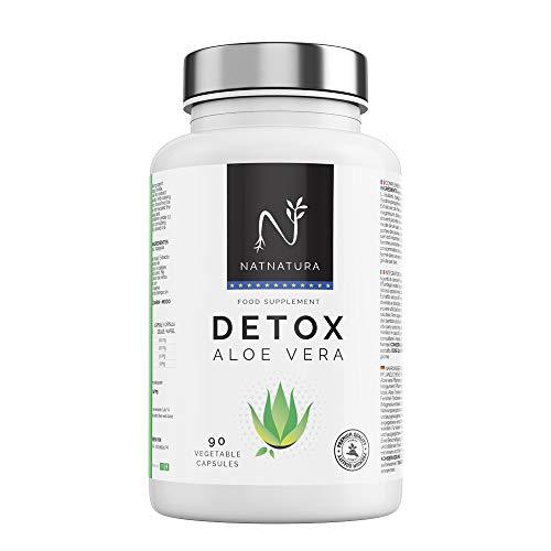 Detox Aloe Vera+Hinojo Plan detox adelgazante natural para eliminar toxinas y limpieza de colon Suplemento alimenticio vegetal a base de aloe vera puro Vegano y sin gluten 90 capsulas vegetales