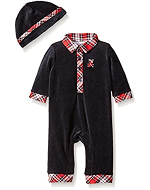 Baby Boys' Plaid Bear Coverall and Hat