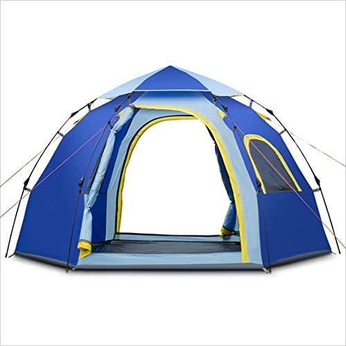 Hukangyu1231 Im Freien Automatische Zelt 5-6 Personen Hexagon Freizeit Jurte Camping Supplies Blau Outdoor-Sportzelte;