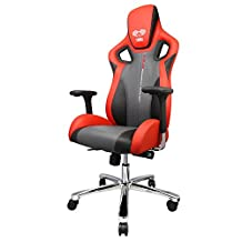 EBLUE Cobra X Comfortable Gaming Chair - Ergonomic and Anti Fatigue Structure - Adjustable armrest and height - PCV Leather- Red/Black Executive Desk Chair