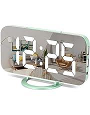 "Digital Alarm Clock,7"" LED Mirror Electronic Clocks,with 2 USB Charging Ports,3 Alarm Settings,Auto Adjust Brightness,Modern Desk Wall Clocks for Bedrooms Living Room Office"