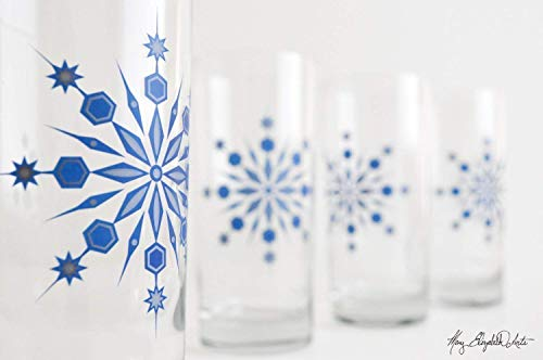 Holiday Snowflake Drinking Glasses - Set of 2 Holiday Glasses, Blue and Silver Snowflake Glassware -