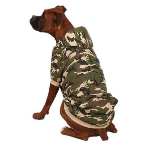(Zack & Zoey Camo Fleece Dog Hoodie, Small/Medium, 14-Inch, Green)