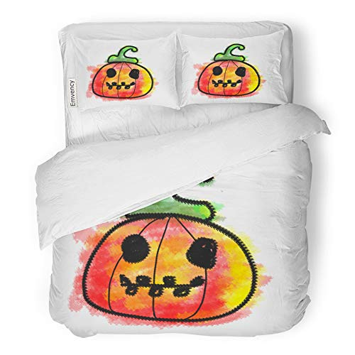 Emvency 3 Piece Duvet Cover Set Brushed Microfiber Fabric Breathable Happy and Funny Spooky Scary Colorful Halloween Pumpkins Painting in Kids Bedding Set with 2 Pillow Covers King Size ()