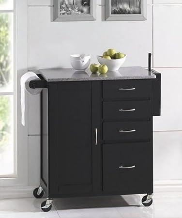 Amazoncom Kitchen Island Cart with Granite Top Espresso Finish