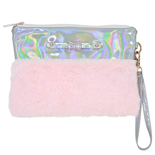 Yummy Gummy Disco Vibe Wristlet Purse -  Clutch Bag for Girls & Teens - Metallic Silver and Pink -