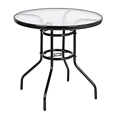 """VINGLI Outdoor Dining Table, 31.5"""" Round Patio Bistro Tempered Glass Table Top with Umbrella Hole, Outside Banquet Furniture for Garden Pool Side Deck Lawn"""