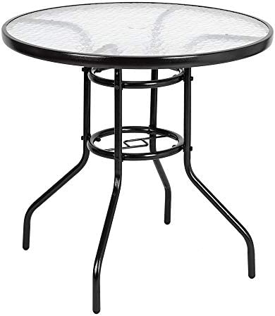 Knocbel Outdoor Dining Table 5mm Tempered Glass Top Metal Frame with 1.8 Umbrella Hole for Patio Garden Lawn Picnic Party, 31.5 L x 31.5 W x 27.56 H Dark Coffee Round