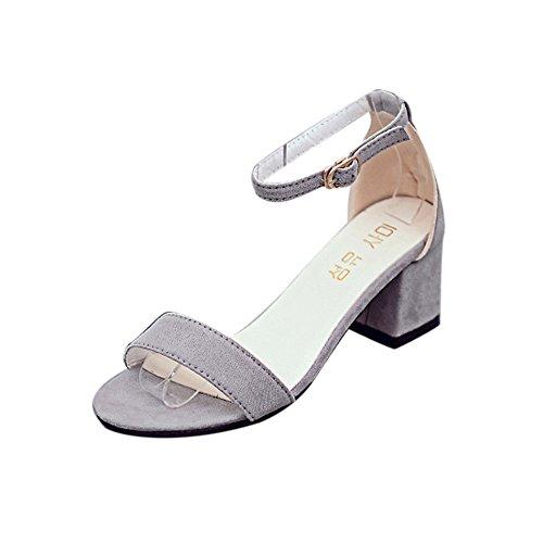 SKY Comfortable to wear it !!! Mujeres Sandalia Chunky del talón de la sola venda de las mujeres con las sandalias del verano de la correa del tobillo Gris