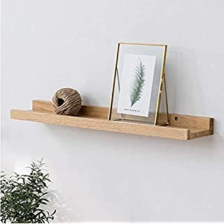 HOMWOO Picture Ledge Shelf Solid Wood Floating Shelves Wall Mounted Rustic Shelves for Home, Living Room, Bedroom, Bathroom, Office (Natural,20 Inches)