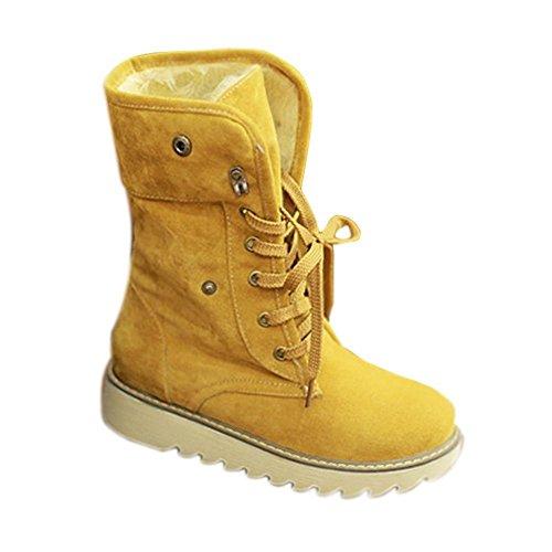 Neve Minetom Giallo Pelliccia Autunno Donna Inverno Lace Cavaliere Up Classico Boots Snow Stivali n0w1Br0Aq
