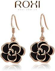 Bling Beauty Earrings Roxi Brand Fashion Jewelry Gold Plated Earring Black Rose Long Drop Earrings Jewelry For