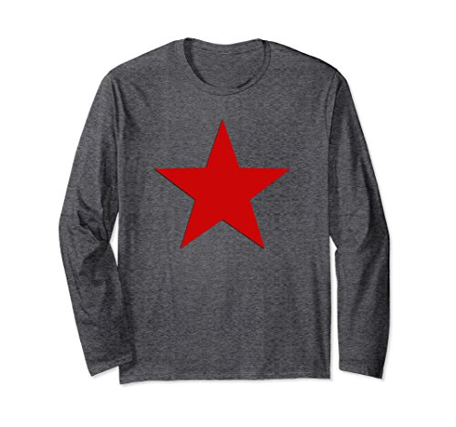 Unisex CCCP Soviet Red Star USSR Long Sleeve T-shirt Large Dark Heather - Soviet Star Ussr T-shirt