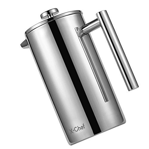 Stainless Steel French Press, X-Chef Double Wall Thermal Coffee Server Coffee Maker Pot, (34oz,1L) Shatterproof
