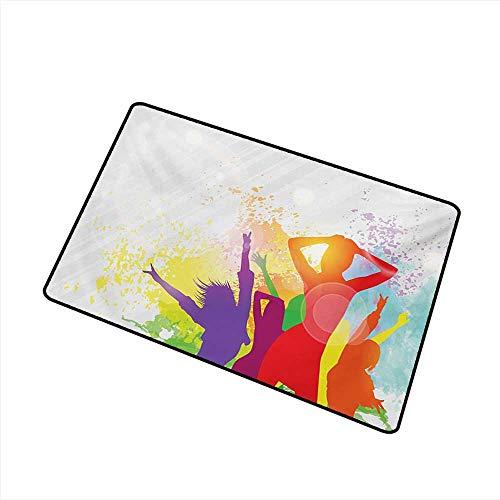 Pet Door mat Girls Party Theme Splashing Dancing Girls Abstract Illustration Artistic Design Pattern W30 xL39 Durable ()