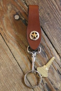 Handcrafted Leather Key Keeper with removable Key Ring --Brown with Western Star--Snaps over your belt, purse strap