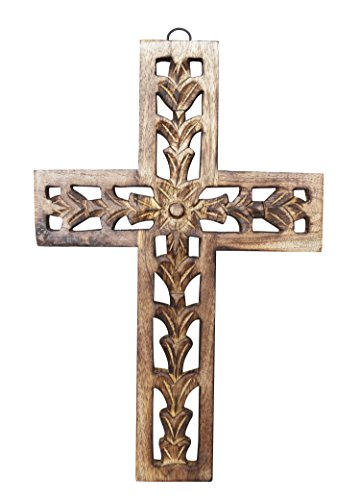 Personalized Wooden Cross (Decorative Wall Cross Wooden French Handmade Plaque Religious Altar Home Living Room Home Decor Accessory (Design 1))