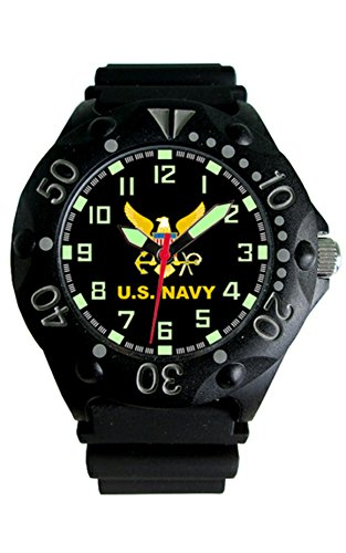 U.S. Navy Etched Dial Mens Dive Watch - 200m Water Resistant ()