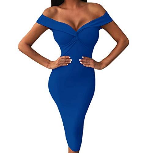 iDWZA Women Bodycon Dresses Off Shoulder Sexy V-Neck Dress Knee-Length Party Clubwear(Blue,XL)
