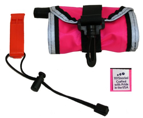 Signal Tube - Bright Pink 4 ft Scuba Diving Dive Signal / Marker Tube with Inflator, (safety sausage)