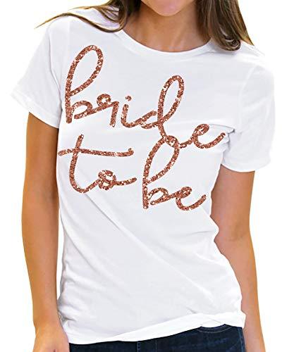 RhinestoneSash Bride to Be Rose Gold Glitter T-Shirt - Wedding, Engangement & Bachelorette Party Tee - Medium White Tee(LovB2B RG) Wht/Med
