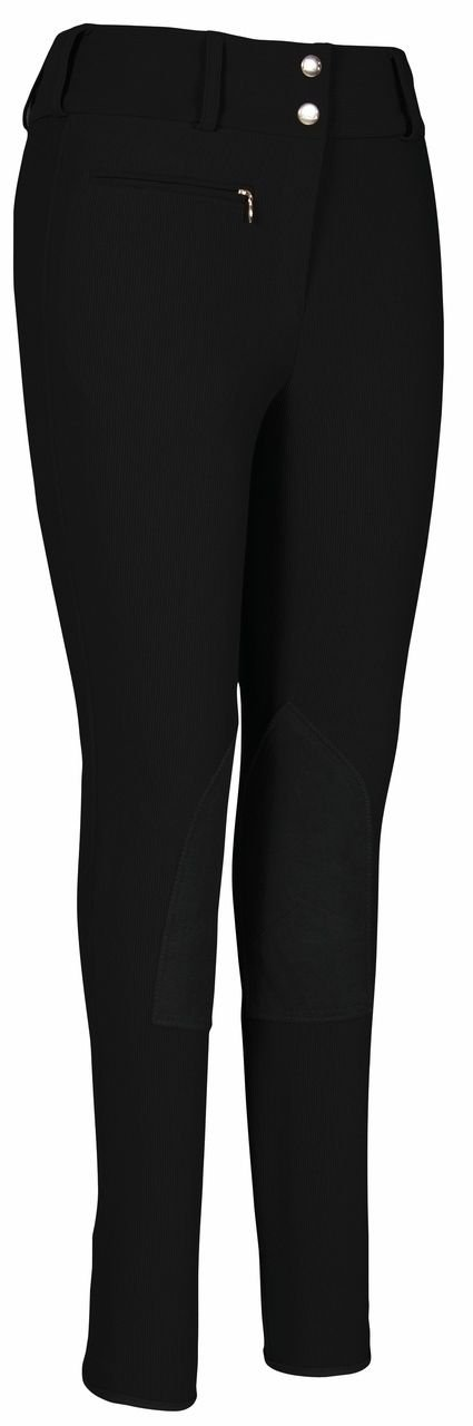 TuffRider Womens Ribb Low Rise Wide Waistband Knee Patch Breech