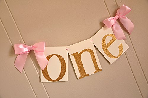 Image Unavailable Not Available For Color 1st Birthday Highchair Banner Pink And Gold Party Decorations