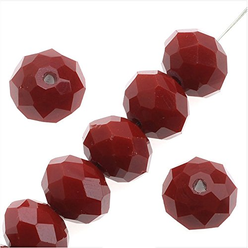 Simulated Ruby Glass Beads, 8x9mm Faceted Rondelles, 10 Pieces, Ruby Red