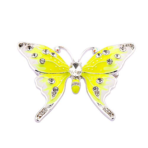 FEELMEM Crystal Rhinestone Butterfly Brooch Pin Blue Color Butterfly Brooches for for Women Girls Wedding/Banquet/Birthday Party (Yellow)