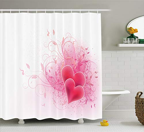 - Ambesonne Romantic Shower Curtain, Love Valentines Day Themed Hearts Floral Arrangement Romantic Amour Illustration, Cloth Fabric Bathroom Decor Set with Hooks, 70 inches, Pink White
