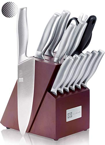 Cutlery Knife Block Set 15-piece Premium Single Piece Stainless Steel Sharp Kitchen Knives Non-slip Handle Kitchen Scissors & Sharpener Home Cooking Essential Gift Set