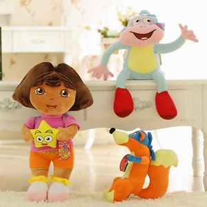 3pcs/set Dora The Explorer Swiper Fox Boots The Monkey Plush Toy Soft Doll (Fox Race Frame)