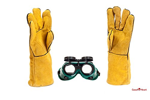 Cowhide Leather Welding Gloves With FREE Bonus Pair of Welding Goggles for Ultimate Set. Extreme Heat Resistant, Perfect For Tig Welders, Mig, and Other Industrial Work. Convenient Flip-Up Goggles by Goodheart (Image #3)