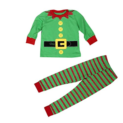 Mosunx(TM) Baby Boys Christmas Outfits Long Sleeve T-Shirt+Stripe Long Pants Clothes (2T, Green)
