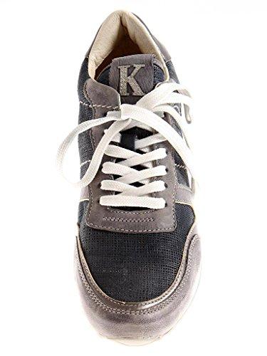 Ledersneaker 4928 Kim Damen Grau Marine Lederschuhe Marine Sportlich Kay Sneaker qwq578A
